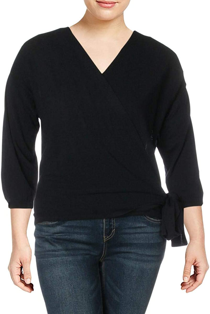 Vince Camuto Womens Sweater Navy Plus Textured Wrap Swing Blue 1X