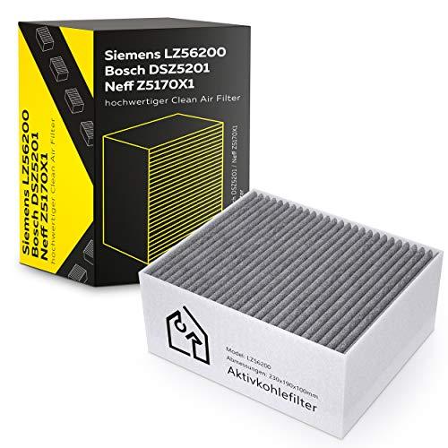 Intexia Aktivkohlefilter für Siemens/Bosch/Neff hochwertiger Clean Air Filter - LZ56200 / DSZ5201 / Z5170X1