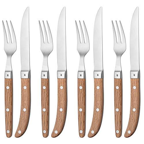 WMF Ranch Steakbesteck 8-teilig, für 4 Personen, Steakgabel, Steakmesser, Spezialklingenstahl geschmiedet, Cromargan Edelstahl mattiert, Eichenholz geölt