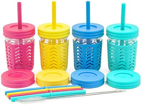 Toddler Cups Kids Cups by JumpinJars 4 Kids Mason Jar Cups with Straw x8 8x Lids 4x Jackets product image