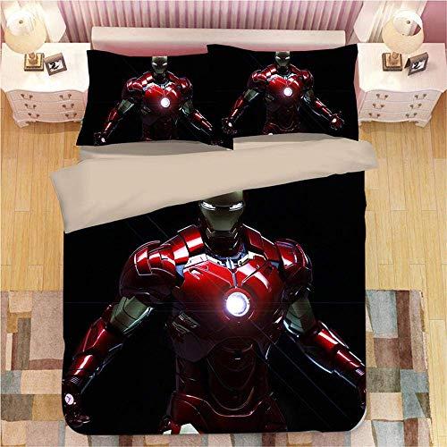 299 Duvet Cover Set 3D 3 Pieces Iron Man Printed Bedding Quilt Duvet Cover With Zipper Closure Ultra Soft Hypoallergenic Microfiber E-Full(200x229cm)