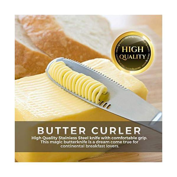 OurLeeme 2PCS Cuchillo esparcidor de mantequilla de acero inoxidable, Profesional 3 en 1 Cuchillo de mantequilla rizador…