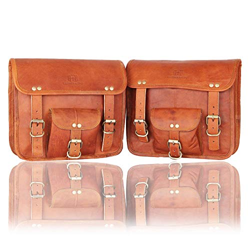 1 Pair of Brown Genuine Leather Saddle Panniers Motorcycle Leather Bag Full-Grain Saddle Brown