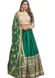 epex Womens Satin Legengha Choli with Heavy Lace Work on Dupatta (Green, Free Size)