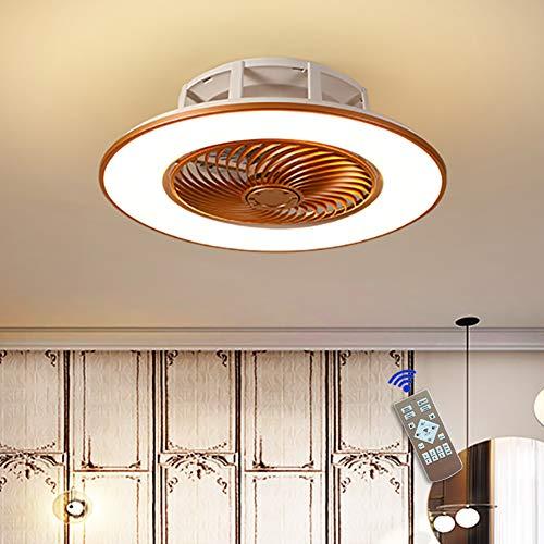 Lámpara de techo con iluminación LED regulable con mando a distancia, 3 velocidades de viento, moderna, lámpara de techo para dormitorio, salón, comedor, lámpara de araña (dorada)