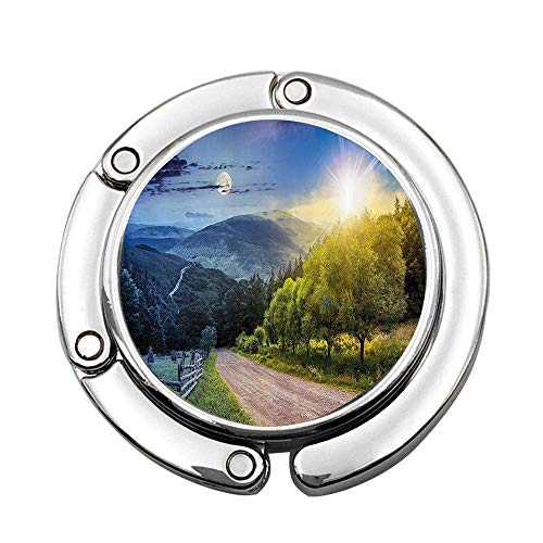 Farm House Day and Night Collage View with Moon and Sun Horizon Countryside Hillside Green Blue Custom Foldable Handbag Bag Purse Hanger Hook Holder