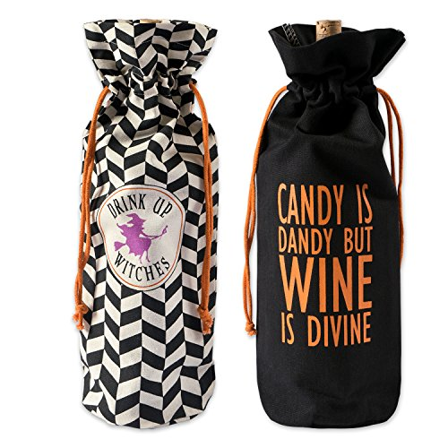 DII 100% Cotton 6x14x4 Bottle Covers for Halloween Décor, Wine Lover, or Party, Hallows Eve Bags
