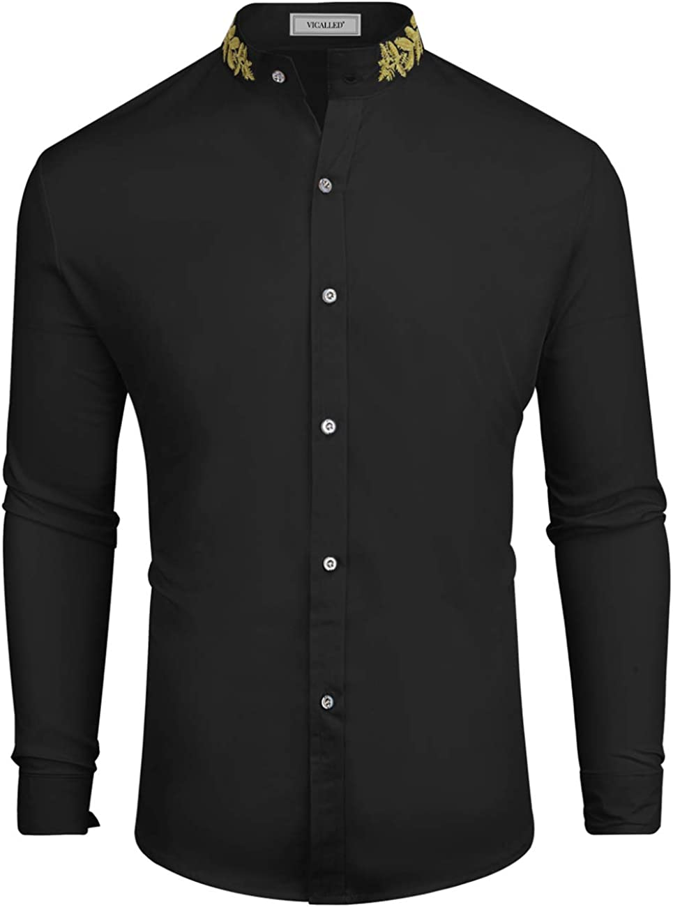 VICALLED Men's Solid Color Dress Shirt Slim Fit Long Sleeve Tuxedo Button Down Collar Shirts