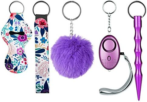 Self Defense Keychains Kit for Ladies with Personal Safety Alarm Kubaton Pom Pom and Wirstlet product image