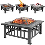 Sibosen Outdoor Fire Pit, 32 Inch Bonfire Wood Burning Firepit Square Fire Table Patio Cooler Grill Firepits w/Mesh Spark Screen Cover, Log Grate, Poker and Cover for Camping Picnic Patio Backyard