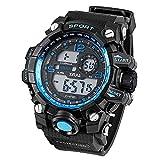 Orologio Da Uomo Sportivo Per Immersione Subacquea, Digitale, Allarme, Retroilluminazione Visione Notturna XJ-876D. Colore bordo e numeri: Blu