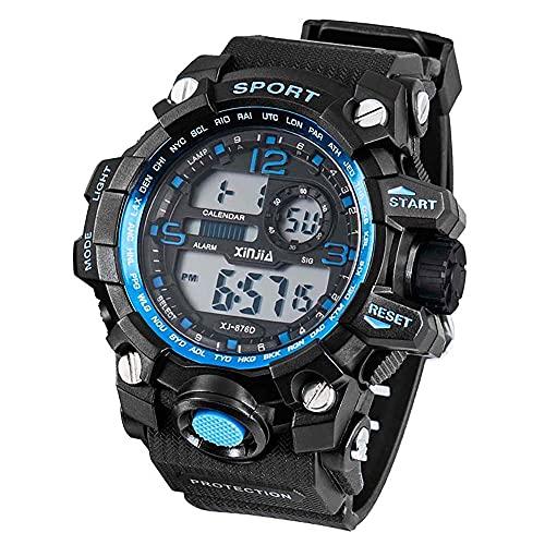 Herren-Taucheruhr, digital, Alarm, Hintergrundbeleuchtung, Nachtsicht, XJ-876D, Farbe Rand und Ziffern: Blau