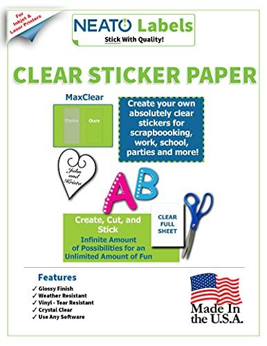 Clear Sticker Paper - Vinyl Full Sheet Label - Weatherproof - for Inkjet and Laser Printers - 10 Premium 8.5 x 11 Inch Transparent Printable Sheets - Tear Resistant- Includes Online Design Softwares