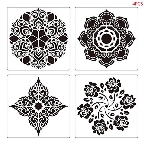 PHILSP 4 Piezas/Set Mandala Stencil Pintura de Pared, Plantilla de Dibujo de Bricolaje baldosas Muebles