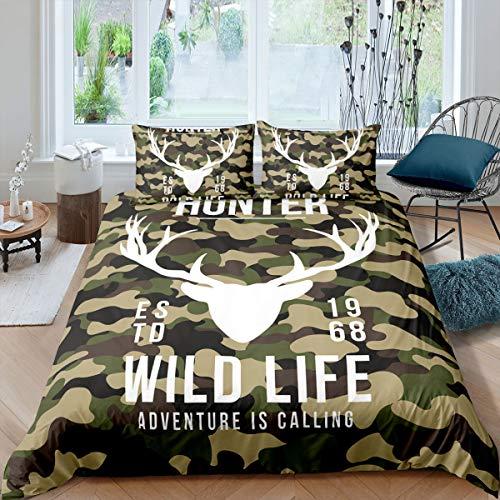 Erosebridal Wlid Life Bettbezug für Kinder, Teenager, King Camouflage, Schmusetuch mit weißem Hirschkopf-Muster, Armeegrün, weiches Bettwäsche-Set, dekorativ, 3-teilig, Tagesdecke mit 2 Kissen