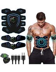 EGEYI Elektrische spierstimulator voor buikspieren, EMS-stimulator voor buikspieren, armen, benen, spiertrainer, USB, oplaadbaar, 9 intensiteitsniveaus (mannen/vrouwen)