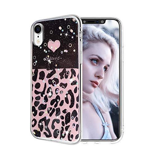 Glitter Cover iPhone SE 2020, Bling Custodia iPhone 7 8, iPhone 6S 6 Case Silicone Gomma Ragazze Donne Uomo Brillantini Trasparente Disegni Antiurto - Amore Leopardo