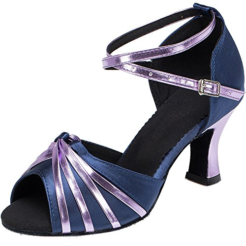 Wealsex Damen Schuhe Standard Latein Tanzschuhe 6 cm Absatz Verschleißfestes Leder (Lila,34)