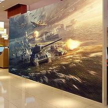Xcmb Mural PersonalizadoCafés De Internet Sala De Juegos Papel Tapiz 3D Aviones Tanques Guerra Soldados Militares Bar Ktv Hotel Dormitorio Sala De Estar Mural-350Cmx245Cm