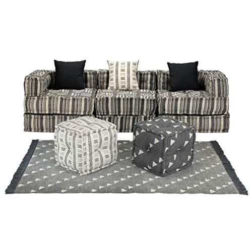 FAMIROSA Conjunto de sofá Modular 12 Piezas Tela de Rayas