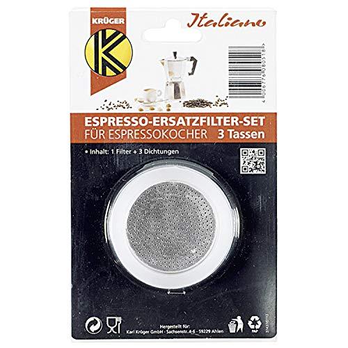 Karl Krüger 1 Filter und 3 Dichtringe für Espressokocher, Größe: 3 Tassen