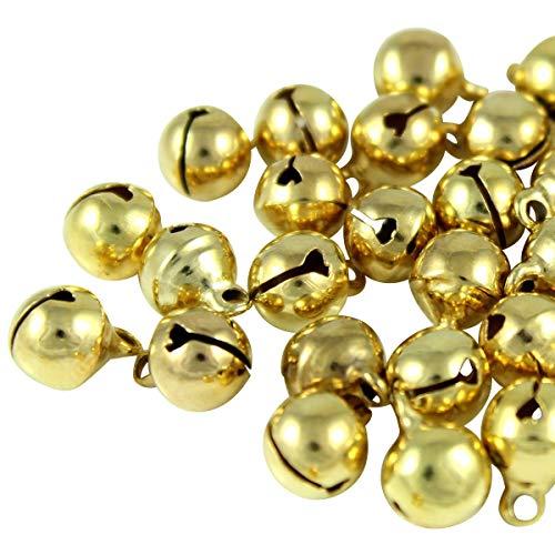 Kleenes Traumhandel 100x Glöckchen Schellen Glocken aus Kupfer - 11x7 mm (Gold Farbend)