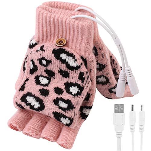 DaMohony - Guanti riscaldati con USB, da donna, con 3 livelli di temperatura, per digitare escursionismo e ciclismo rosa M