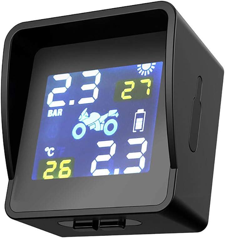 WYYHAA TPMS Moto Sistema de Monitoreo de Presión, Solar/Carga USB Inalámbrico Digital De Neumático Auto del Sistema De Alarma TPMS Display LCD con 2 Sensores Externos para La Motocicleta