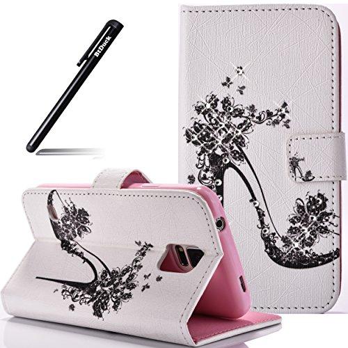 Galaxy S5 Mini Hülle,BtDuck Strass Bling Hülle im Bookstyle für Samsung Galaxy S5 Mini Tasche Wallet Case Magnetverschluss Glitzer Ledertasche Stander Function ID Credit Card Holder Slots Handyhülle