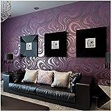 QIHANG Diseño o cama De matrimonio Abstract Curve 3d rollo De Papel pintado De Papel Parede De tela negro y azul para diseño De rayas morado Color Papel pintado 0.7m * 8, 4M=5,88SQM