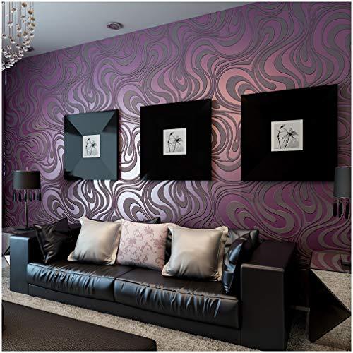 Hanmero Modern 3D-Tapete Simpel Vliestapete Curve Vergolden Mustertapete 0.7 * 8.4m Lila Wallpaper
