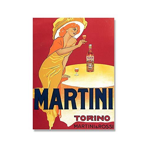 zuomo Martini y Rossi 1970s Pinturas en Lienzo publicitarias Bebidas alcohólicas Vintage Vino Cerveza Cartel Clásico Arte de la Pared Imagen Decoración 50x70cm Sin Marco