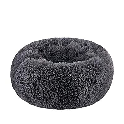 "BODISEINT Modern Soft Plush Round Pet Bed for Cats or Small Dogs, Mini Medium Sized Dog Cat Bed Self Warming Autumn Winter Indoor Snooze Sleeping Cozy Kitty Teddy Kennel (S(19.7""Dx7.9 H, Dark Grey)"