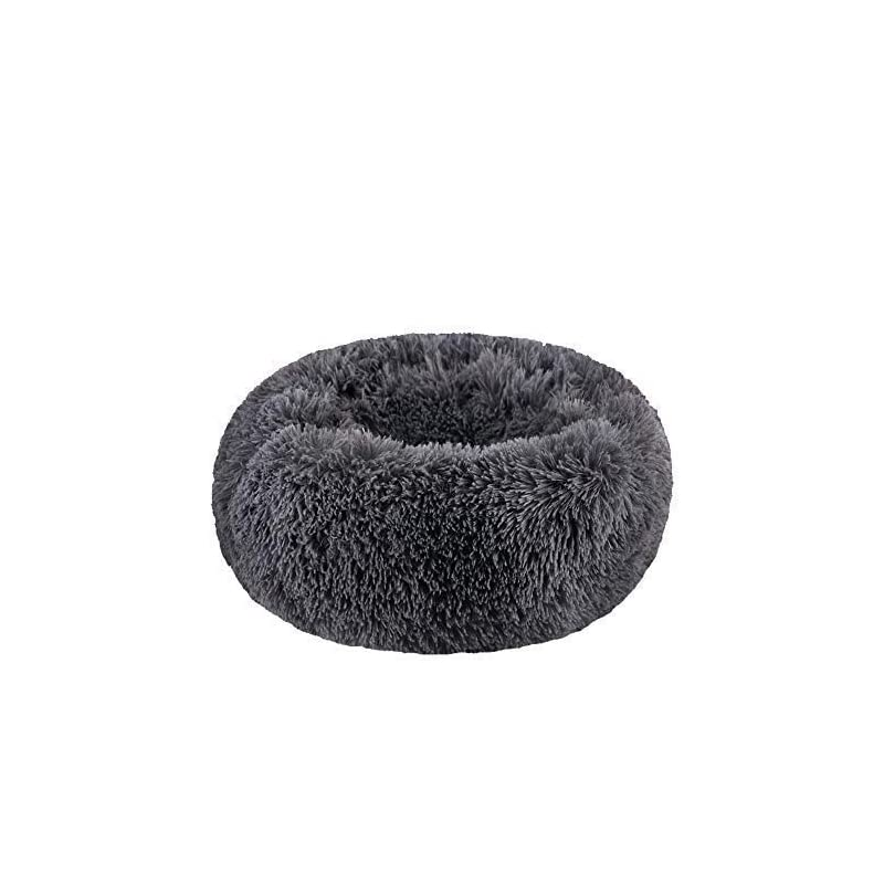 """dog supplies online bodiseint modern soft plush round pet bed for cats or small dogs, mini medium sized dog cat bed self warming autumn winter indoor snooze sleeping cozy kitty teddy kennel (m(23.6""""dx7.9 h), dark grey)"""