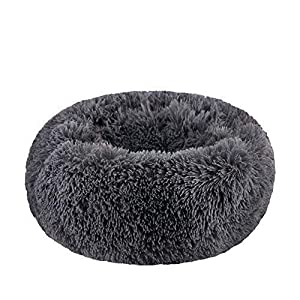 """BODISEINT Modern Soft Plush Round Pet Bed for Cats or Small Dogs, Mini Medium Sized Dog Cat Bed Self Warming Autumn Winter Indoor Snooze Sleeping Cozy Kitty Teddy Kennel (M(23.6""""Dx7.9 H), Dark Grey)"""