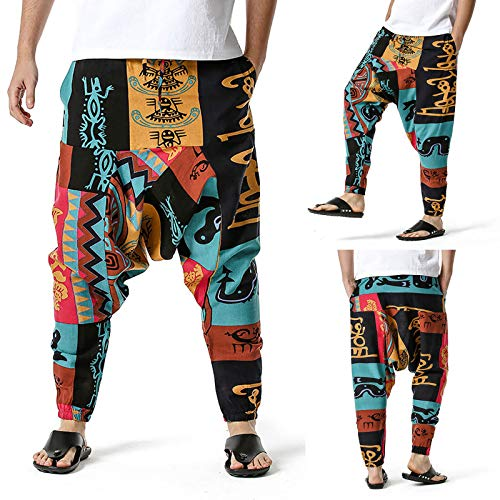 MOVERV Pantalones Bohemios Hombres Pantalón Pantalones Hippie Boho para Hombre Tallas Grande Entrenamiento Ropa Deportivas Yoga Harem Pantalones de Lino Pantalones Harén para Hombre