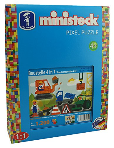 Ministeck 31584 - Mosaikbild Baustelle 4in1, Steckplatte, ca. 1200 Teile und Zubehör, ideales Geschenk für kreatives Spielen