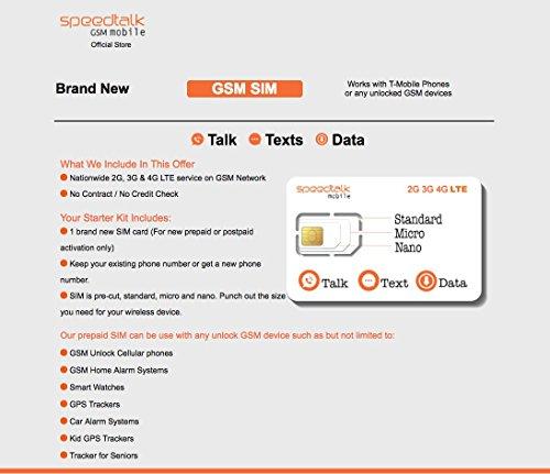 SpeedTalk Mobile Complete Multi-Purpose Triple Cut SIM Card Starter Kit - No Contract (Universal SIM: Standard, Micro, Nano)