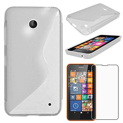 ebestStar - Coque Compatible avec Nokia Lumia 630 Etui Housse Silicone Gel TPU Souple Motif S-Line, Transparent + Film Protection écran Verre Trempé [Appareil: 129.5 x 66.7 x 9.2mm, 4.5'']