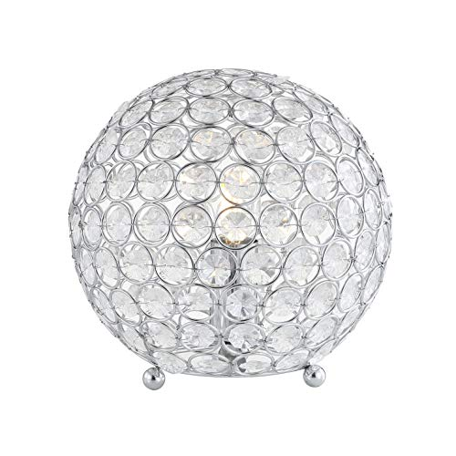 """JONATHAN Y JYL1042A Gemma 8.25"""" Acrylic/Metal LED Table Lamp, Glam, Transitional, Bohemian For Bedroom, Living Room, Office, Clear/Chrome"""