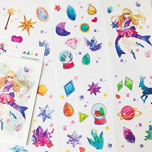 BLOUR 6 feuilles/paquet fée Diamant & Princesse fille Papier autocollants Album décoratif Journal compte Main décor