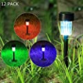 Maggift 12 Pcs Solar Pathway Lights Solar Powered Lights, Outdoor Change Color Automatically Solar Landscape Lights for Lawn, Patio, Yard, Walkway, Deck, Driveway and Garden, RGB Color Changing