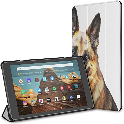 Case Cover Compatible with 10.1' Amazon Fire HD 10 Tablet (9th / 7th Generation, 2019/2017 Release),Drawing Dog German Shepherd Dog