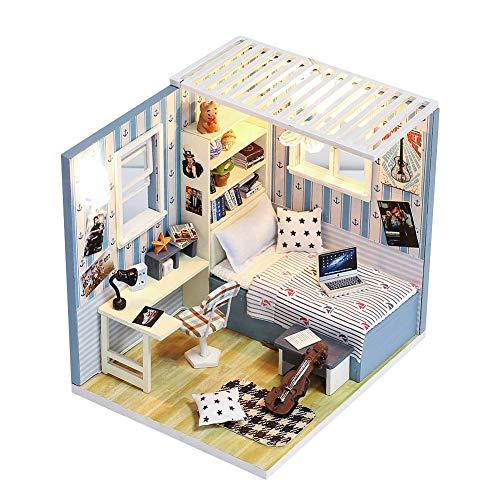 Baustein Puppenhaus DIY Zusammengebautes Holzhaus mit Möbel Miniatur Haus Modell Kinderzimmer Schreibtisch Dekoration Mini Haus Kinder Puzzle Spielzeug Kreatives Geschenk für Weinnachten Geburtstag