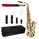 OLYM STORE Alto Drop E Lacquered Golden Saxophone Painted Golden Tube with Carve Patterns