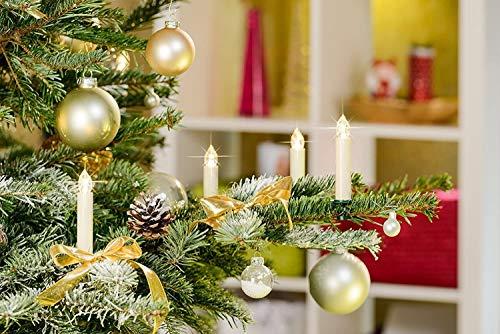12 LED Weihnachtsbaumkerzen Elfenbein/Creme inkl. Batterien und Befestigungsclips, Flackermodus, kabellose Weihnachtskerzen für Innen- und Außen