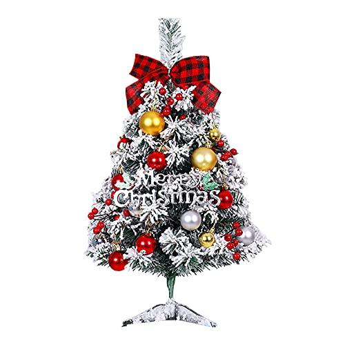 24 Pulgadas Mini Árbol de Navidad Conjunto de Decoración de Mesa Ornamental Decoración Festiva de Temporada con Luz Y Adornos para La Sala de Casa Oficina Escuela Centro Comercial