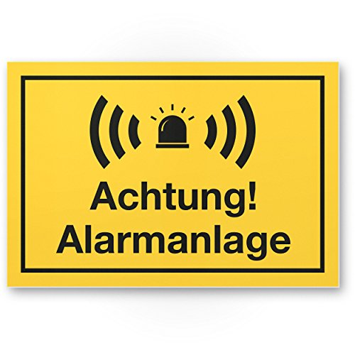 Achtung Alarmanlage Kunststoff Schild (gelb 30 x 20 cm) - Achtung/Vorsicht Alarmgesichert - Hinweis/Hinweisschild Alarm - Haus/Gebäude/Objekt