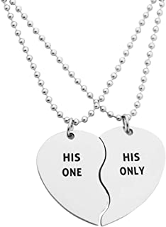 Eilygen Gay Couple Gifts Stainless Steel Heart Charm Necklace Set LGBT Necklace Gay Necklace