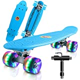 """Monopatín Completo Mini Cruiser Skateboard 22"""" Retro Skate Board para Niños Adolescentes Adultos, Ruedas con Luz LED y Herramienta en T de Patinaje Todo en Uno"""